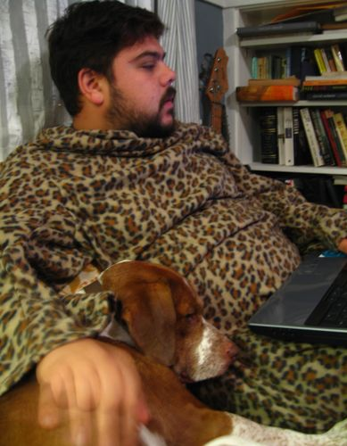 Joey and sterling in snuggie